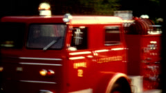first responders vintage 1960s red fire truck or fire engine film historic - stock footage