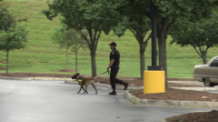 Police and dog team Stock Footage