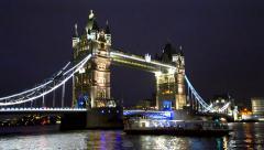 Tower bridge in london underneath boat passing, london, united kingdom Stock Footage