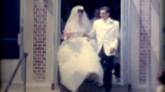 Vintage old film 1960s wedding bride and groom people throwing rice fashion Stock Footage