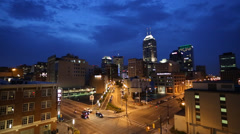 Indianapolis Cityscape at Night, Skyline and Traffic, Intense Colors Stock Footage