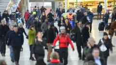 close up upper body shot city commuters walking to work - stock footage