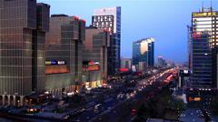Overlook the loud street scene near Guomao CBD,Beijing,China Stock Footage