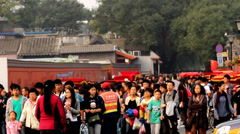The visitors for Alley Nanluogu and the traffic,Beijing,China Stock Footage