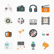 Entertainment Icons with White Background , eps10 vector format - stock illustration