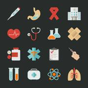 Medical and health icons with black background , eps10 vector format Stock Illustration