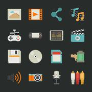 multimedia icons with black background , eps10 vector format - stock illustration
