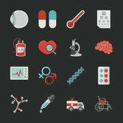 Medical and health icons with black background , eps10 vector format - stock illustration