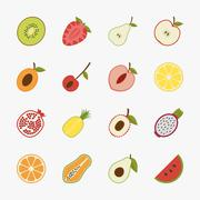 Fruit icons with white background , eps10 vector format - stock illustration
