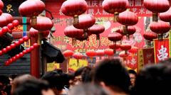 Stock Video Footage of Crowded Wangfujing Snack Street,Beijing,China