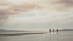 \Five Teenage Girls Standing At The Water's Edge On The Beach Stock Footage
