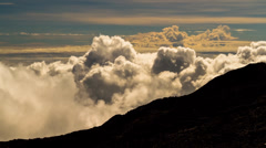 Clouds Timelapse over Mountain Range, Reunion, Piton De La Fournaise 02 Stock Footage