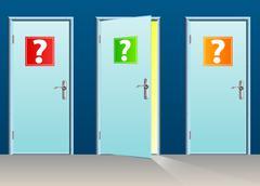 Interrogation doors - stock illustration