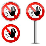 Illustration of no entry sign on white background - stock illustration