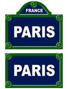 Parisian avenue plates - stock illustration