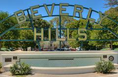 Beverly Hills allekirjoittaa Rodeo Driven näkymä Los Angeles kukkulat Kuvituskuvat
