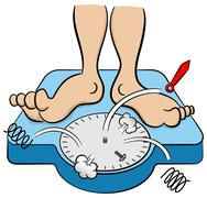 Bathroom scale collapses under weight Stock Illustration