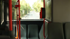 Ghostly empty bus running on the streets. Stock Footage