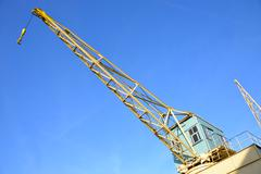 An old crane at an outdoor museum in Antwerp. - stock photo