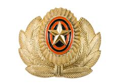 insignia on russian officer cap - stock photo