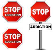 Stop addiction sign on white background Stock Illustration