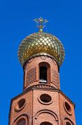 golden dome on russian orthodox church - stock photo