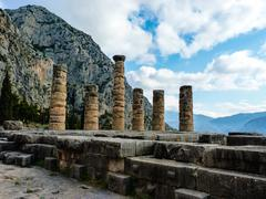 Apollo temple in oracle delphi, greece Stock Photos