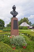 monument to alexander suvorov in novgorod region, russia - stock photo
