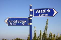 Direction signs on a post in Kemer, Turkey Stock Photos