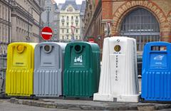 Recycle bins for waste segregation in Budapest - stock photo