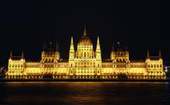 Hungarian parliament building at night - stock photo