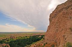 Storm clouds over the badlands Stock Photos