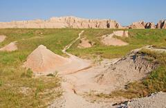 trail into the badlands - stock photo