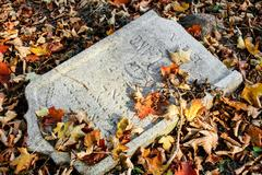 Damaged tomb in forgotten and unkempt jewish cemetery Stock Photos