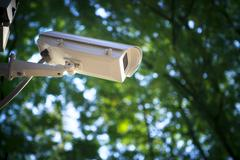 surveillance  cctv camera security watching in outdoor garden park - stock photo