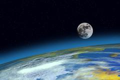 Surface planet earth and moon Stock Illustration