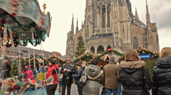 Christmas market in Ulm, Germany Stock Footage