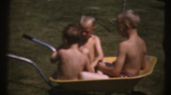 1955  vintage boys playing, swimming pool Stock Footage