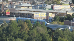Public Transportation Monorail Tran in Las Vegas Stock Footage
