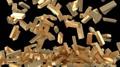 Golden Bars Falling Stock Footage