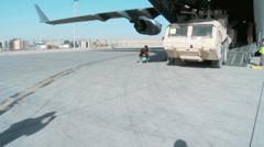 Unloading the C-17 Globemaster III operations Stock Footage
