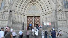 Santa Maria del Pi. Temple, Barcelona. Stock Footage