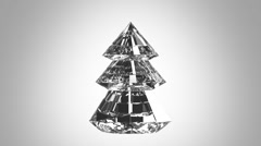 Crystal routing christmas tree on white background - stock footage