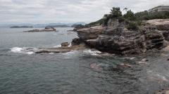 Shirahama Japan Coastline With Cliffs Stock Video Stock Footage
