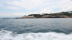 Boat Travels Off the Coast of Shirahama Japan Stock Video Stock Footage