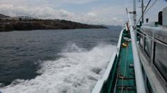 Boat Off the Coast of Shirahama Japan Stock Video Stock Footage