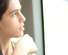 Traveling young adult woman portrait. Stock Footage