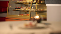 Cakes and capuccino Stock Footage