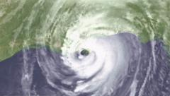 Hurricane Katrina forming in Gulf to Landfall Stock Footage