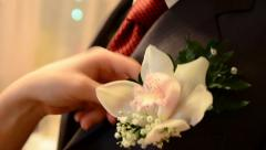 Wedding boutonniere flower Stock Footage